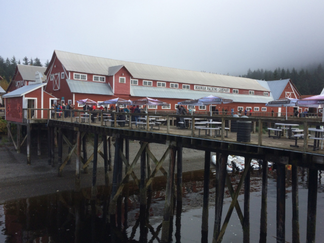 Restaurant serving seafood is popular in Icy Strait Point Alaska
