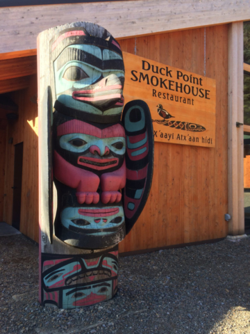 Totem at Duck Point Smokehouse in Icy Strait Point