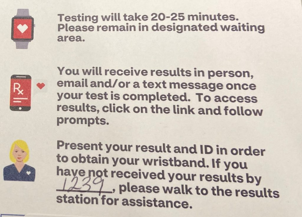 Post-testing instructions